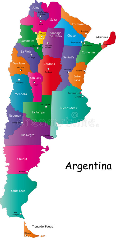 Argentina map vector illustration