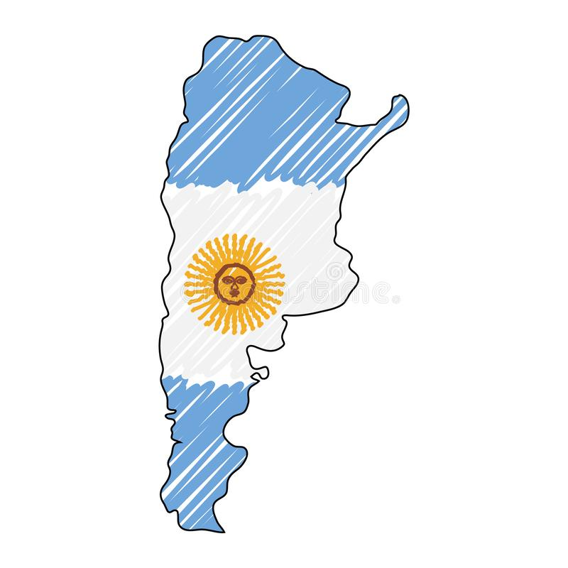 Argentina map hand drawn sketch. Vector concept illustration flag, childrens drawing, scribble map. Country map for royalty free illustration