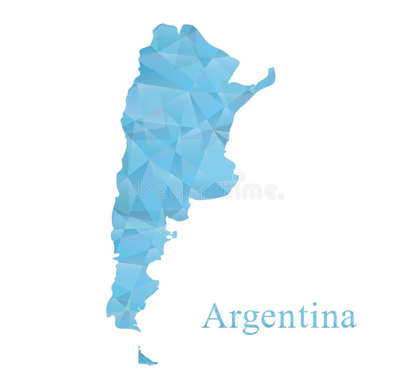 Argentina map icon in blue low polygon style. abstract geometric tessellation, vector design vector illustration