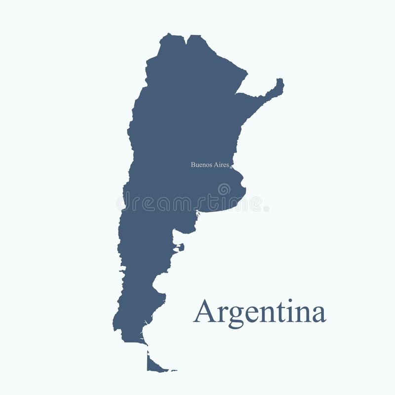 Argentina map icon with the capital Buenos Aires stock illustration