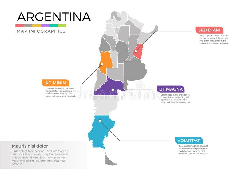Argentina map infographics vector template with regions and pointer marks. Argentina map info-graphics vector template with regions, districts, state, country royalty free illustration