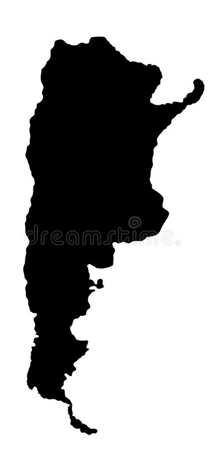 Argentina map silhouette. Argentina map silhouette high detailed illustration isolated on white background vector illustration