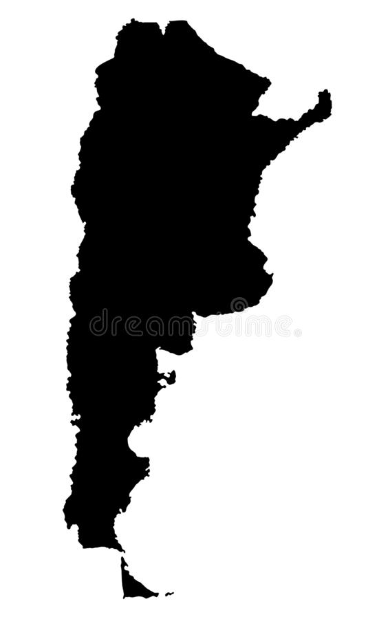 Argentina map silhouette vector illustration. Isolated on white background stock illustration