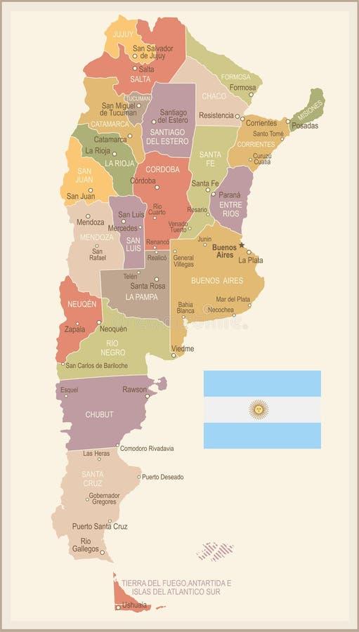 Argentina - mapa e bandeira do vintage - ilustração ilustração royalty free