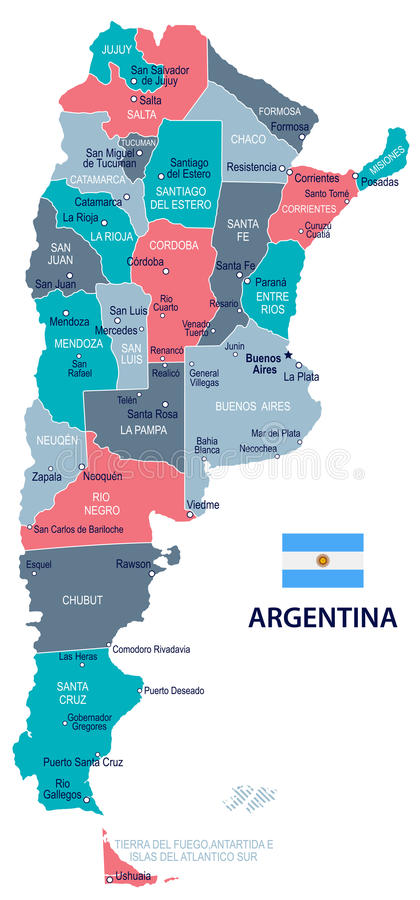 Argentina - mapa e bandeira - ilustração ilustração stock