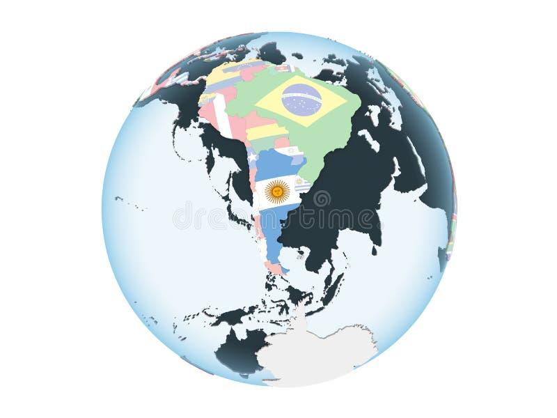 Argentina med flaggan på det isolerade jordklotet royaltyfri illustrationer