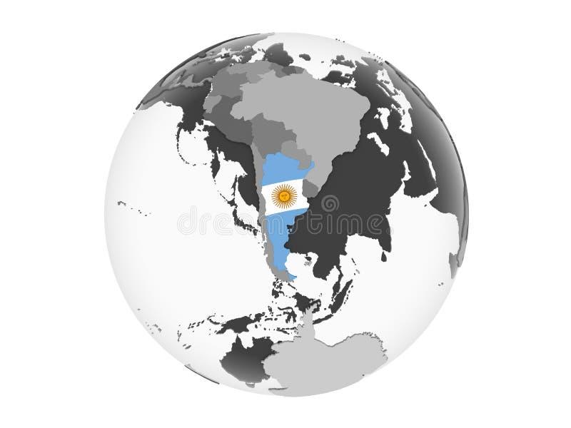 Argentina med flaggan på det isolerade jordklotet vektor illustrationer
