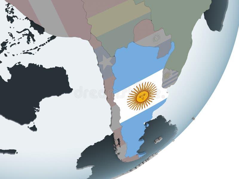 Argentina med flaggan på jordklotet vektor illustrationer
