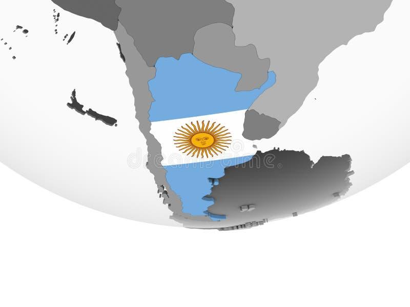 Argentina med flaggan på jordklotet stock illustrationer