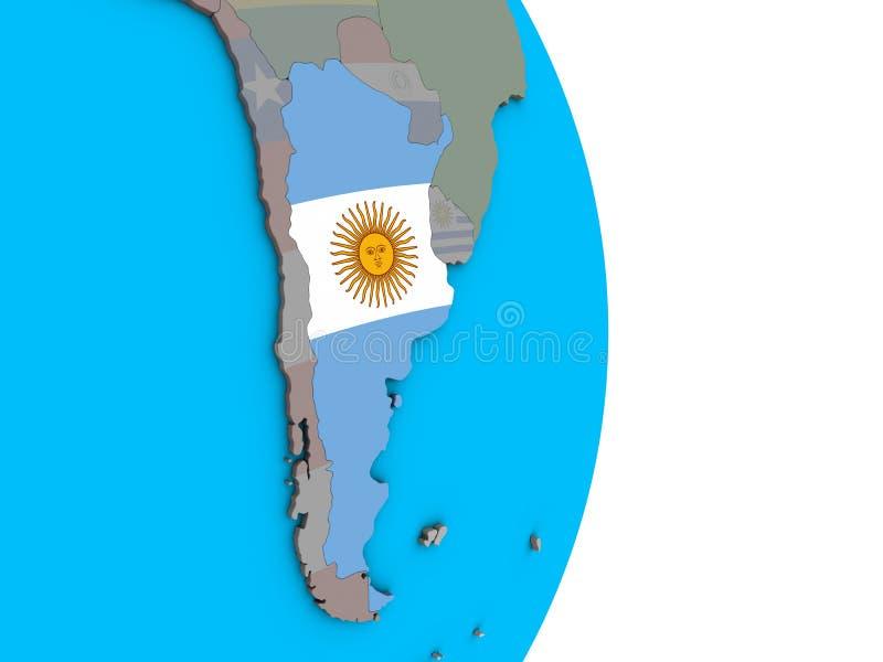 Argentina med flaggan på jordklotet 3D vektor illustrationer