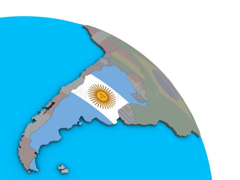 Argentina med flaggan på jordklotet 3D royaltyfri illustrationer