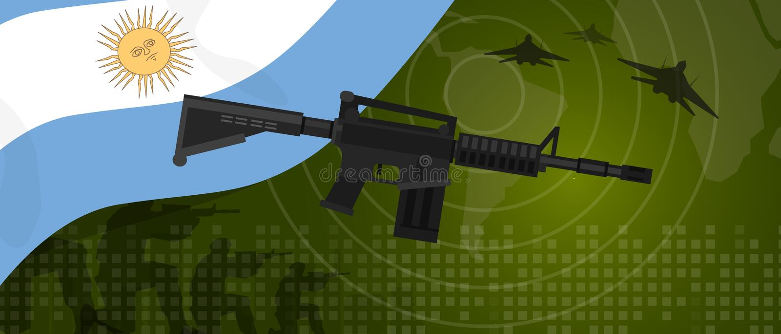 Argentina military power army defense industry war and fight country national celebration with gun soldier jet fighter. And radar vector stock illustration