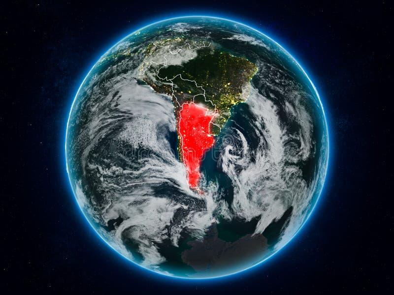 Argentina na terra na noite ilustração do vetor