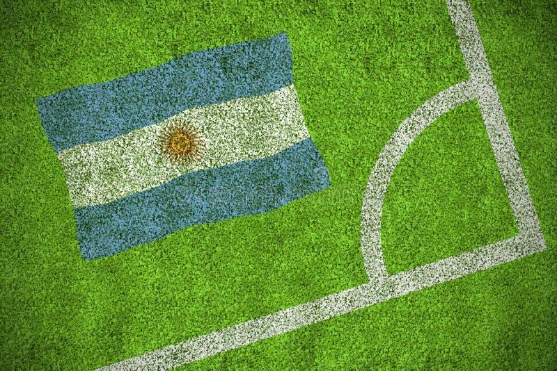 Argentina national flag. Against corner of football pitch vector illustration