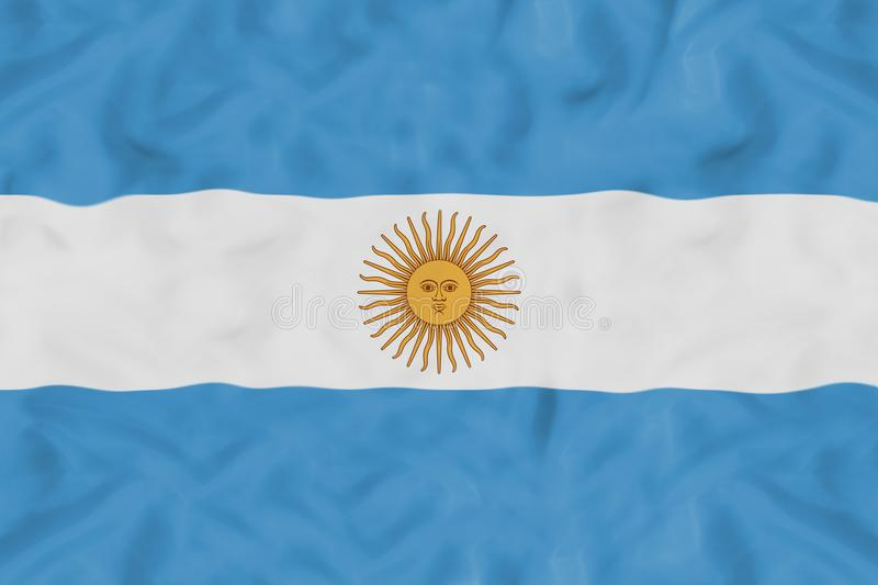 Argentina national flag with waving fabric. Argentina country independent state national flag banner close-up with waving fabric texture royalty free stock photography