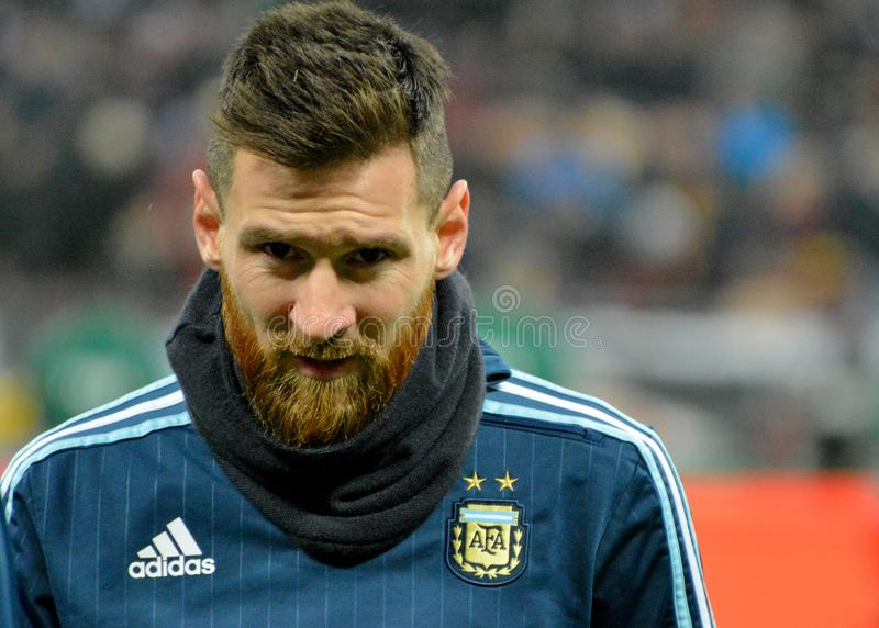 Argentina national football team captain Lionel Messi. Moscow, Russia - November 11, 2017. Argentina national football team captain Lionel Messi before test royalty free stock image