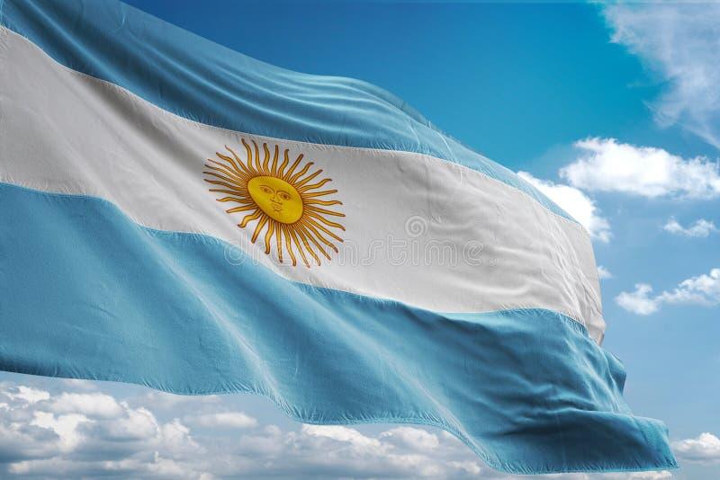 Argentina nationsflagga som vinkar illustrationen 3d för bakgrund för blå himmel den realistiska stock illustrationer
