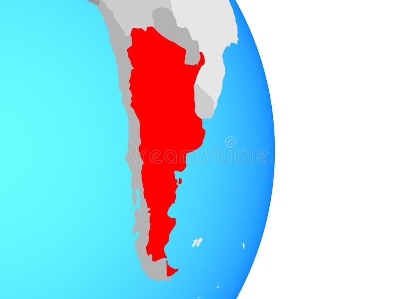 Argentina no globo ilustração stock