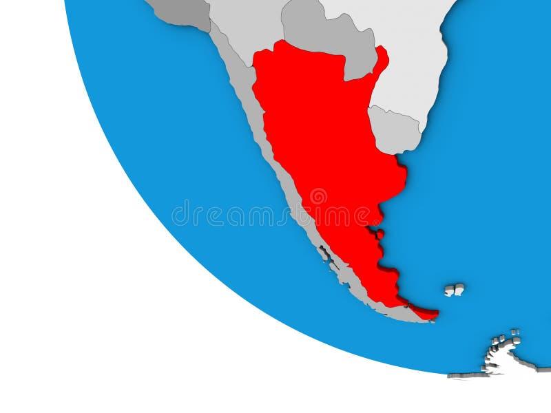 Argentina no globo 3D ilustração stock
