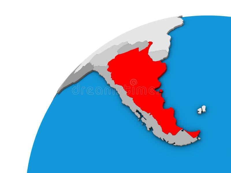 Argentina no globo 3D ilustração do vetor