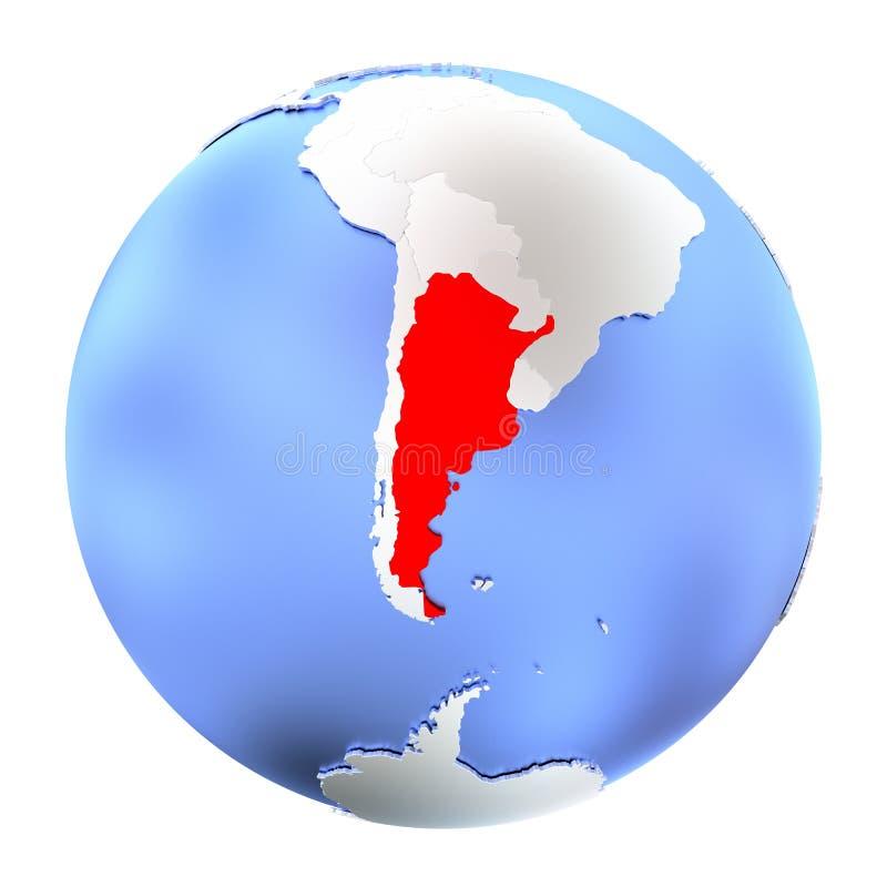 Argentina no globo metálico isolado ilustração stock
