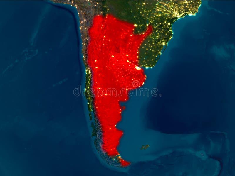 Argentina no vermelho na noite ilustração stock