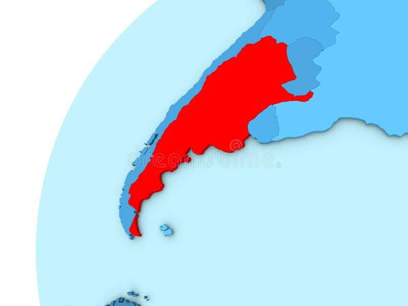 Argentina no vermelho no globo azul ilustração royalty free