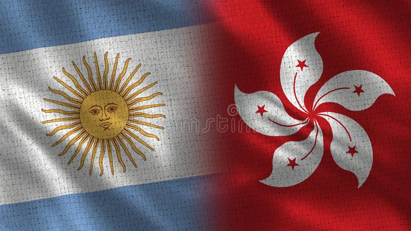 Argentina och Hong Kong Realistic Half Flags tillsammans stock illustrationer