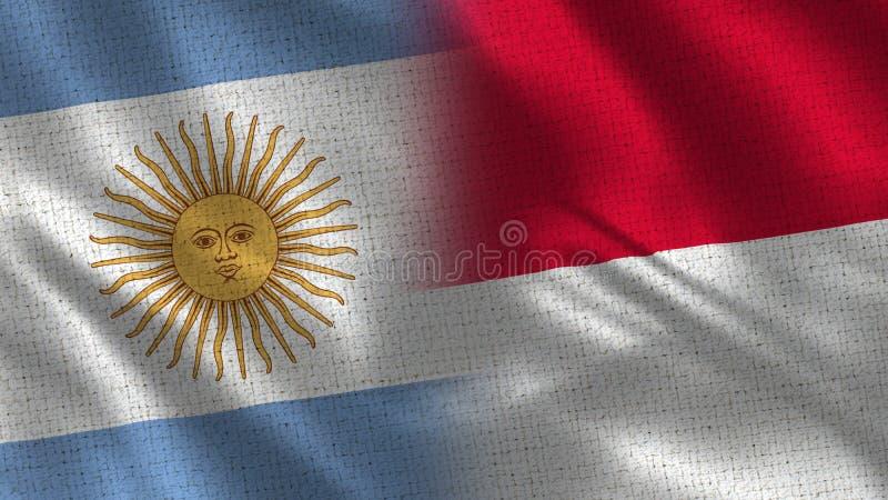 Argentina och Monaco realistiska halva flaggor tillsammans vektor illustrationer