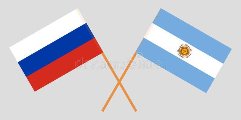 Argentina och Ryssland De Argentinean och ryska flaggorna Officiella färger Korrigera proportionen vektor stock illustrationer
