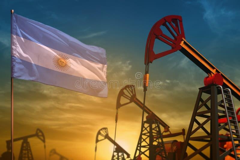 Argentina oljeindustribegrepp Industriell illustration - Argentina flagga- och oljabrunnar mot den blåa och gula solnedgånghimlen royaltyfri illustrationer
