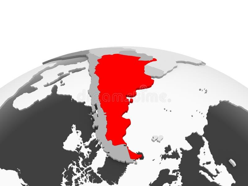 Argentina på det gråa jordklotet stock illustrationer