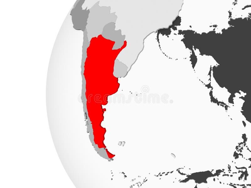 Argentina på det gråa jordklotet royaltyfri illustrationer