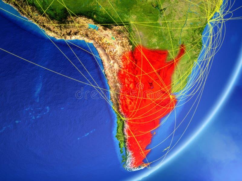 Argentina på jord med nätverket stock illustrationer