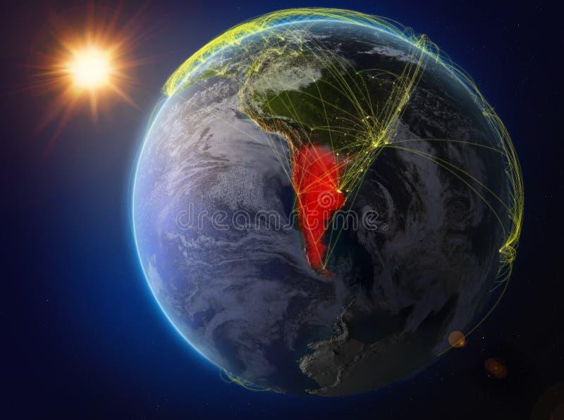 Argentina på jord med nätverket royaltyfri illustrationer
