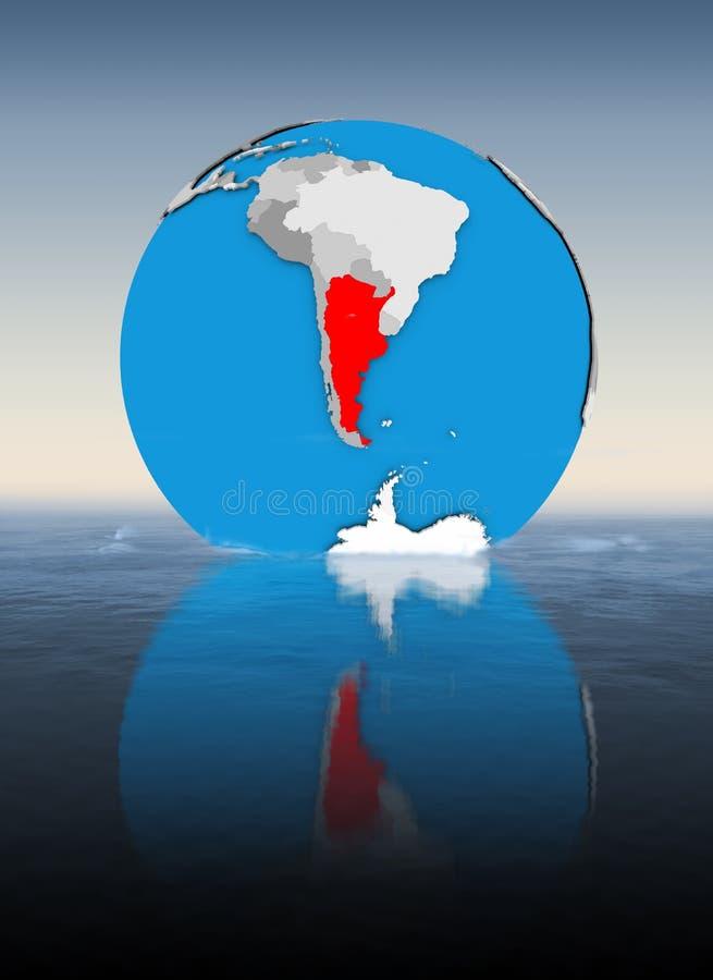 Argentina på jordklotet i vatten royaltyfri illustrationer