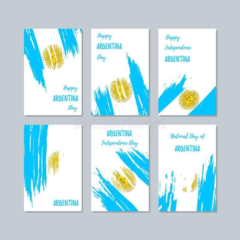Argentina patriotiska kort för nationell dag vektor illustrationer