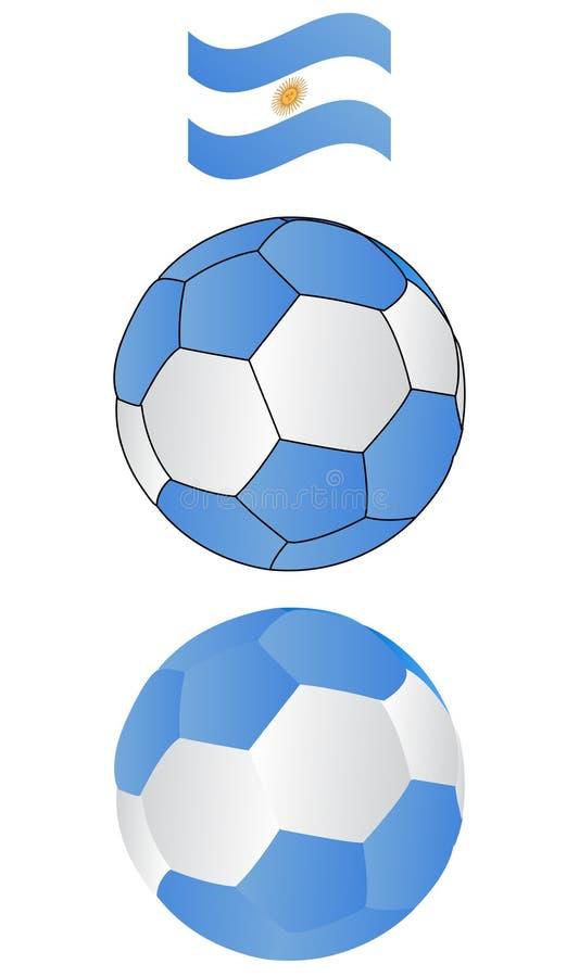 argentina piłki flaga latająca piłka nożna ilustracja wektor