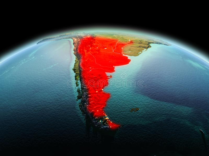 Argentina on planet Earth in space. Morning above Argentina highlighted in red on model of planet Earth in space. 3D illustration. Elements of this image stock photography