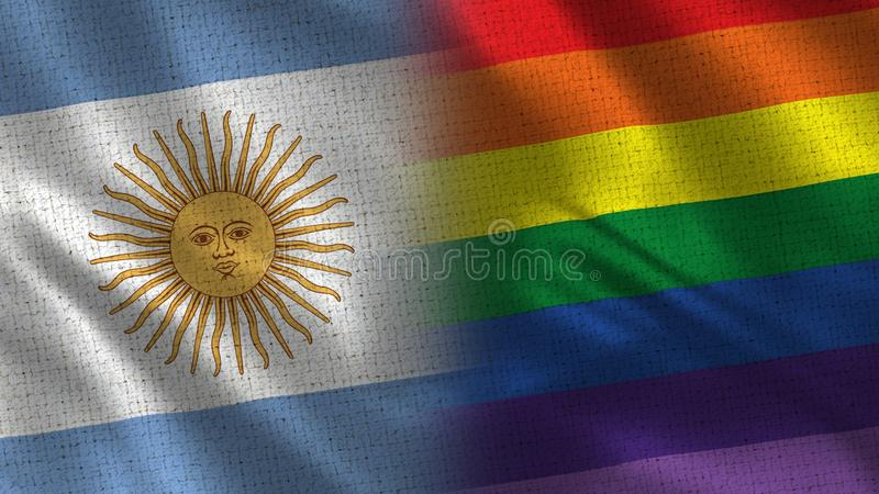 Argentina and Pride Realistic Half Flags Together vector illustration