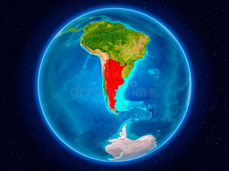 Argentina on Earth. Argentina in red from Earth's orbit. 3D illustration. Elements of this image furnished by NASA vector illustration