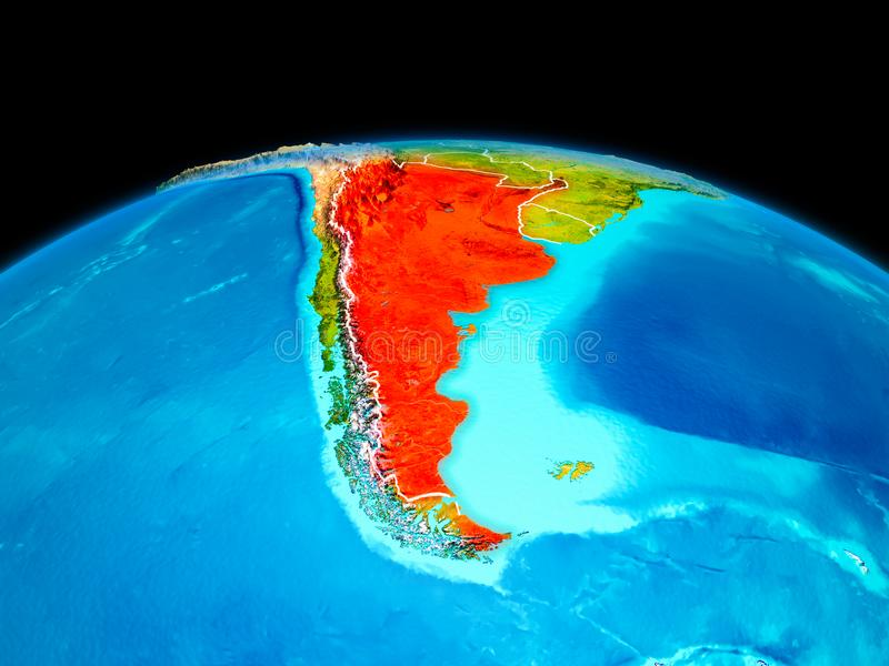 Argentina in red. Satellite view of Argentina highlighted in red on planet Earth with borderlines. 3D illustration. Elements of this image furnished by NASA royalty free illustration