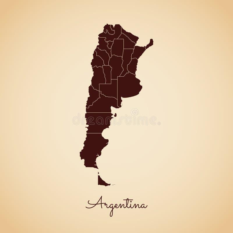 Argentina regionöversikt: retro stilbruntöversikt stock illustrationer