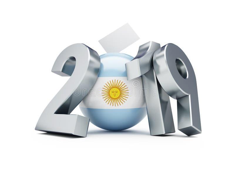 Argentina riksdagsval 2019 på en vit illustration för bakgrund 3D, tolkning 3D stock illustrationer