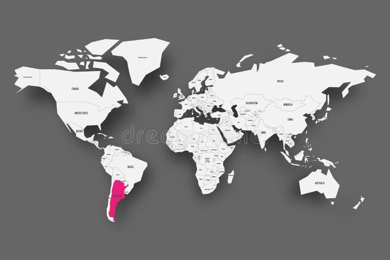 Argentina rosa färger som markeras i översikt av världen Ljus - grå färg förenklad översikt med tappad skugga på mörk grå bakgrun vektor illustrationer