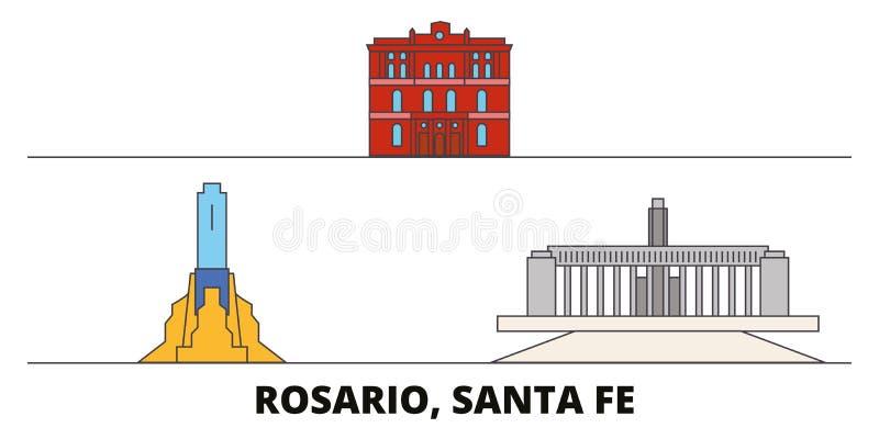 Argentina, Rosario flat landmarks vector illustration. Argentina, Rosario line city with famous travel sights, skyline royalty free illustration