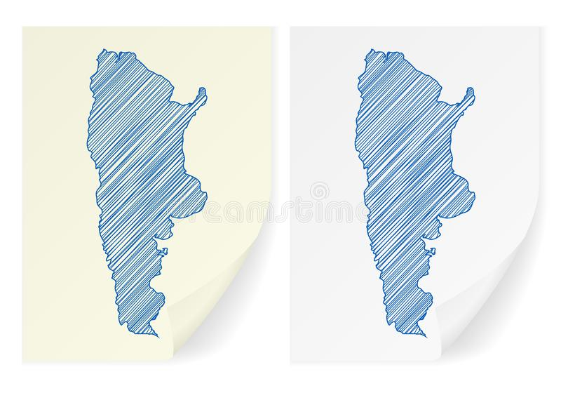 Argentina scribble map. On a white background royalty free illustration