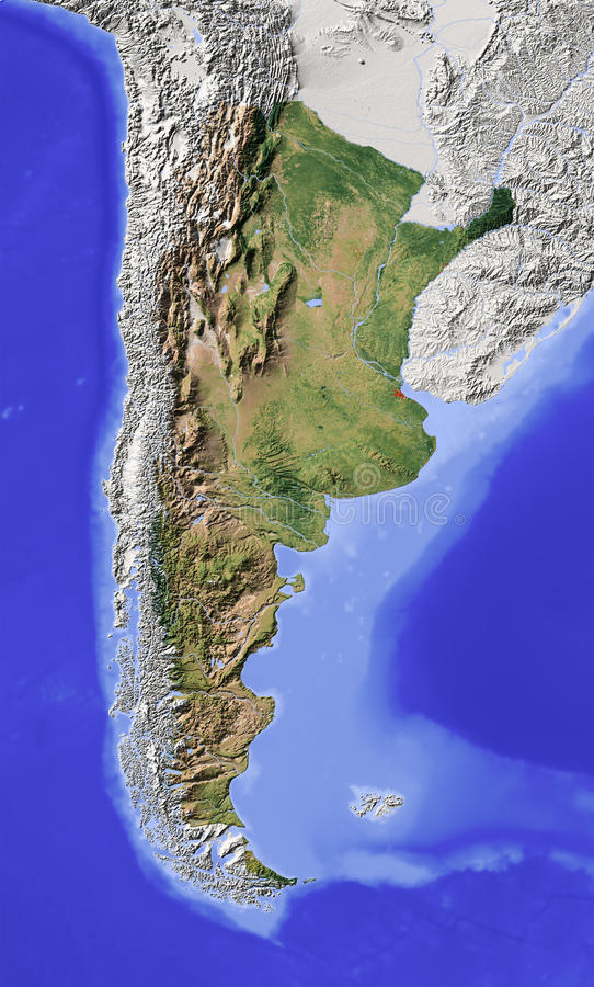 Download Argentina, Shaded Relief Map Stock Illustration - Image: 11880816