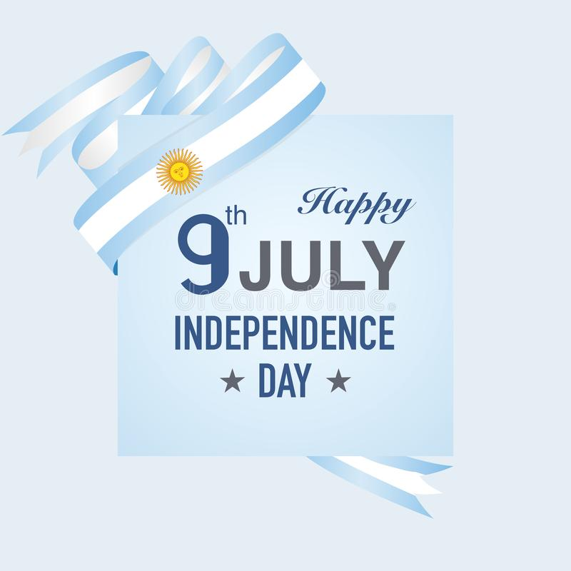 Argentina självständighetsdagen på bandvektorn Illustrat för blå flagga royaltyfri illustrationer