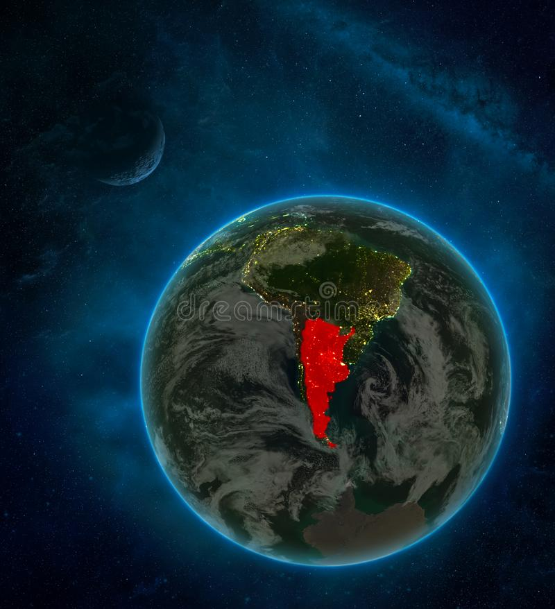 Argentina from space on Earth at night surrounded by space with Moon and Milky Way. Detailed planet with city lights and clouds. 3D illustration. Elements of vector illustration